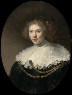 Portrait of a Woman Wearing a Gold Chain by Rembrandt Harmensz. van Rijn 1634