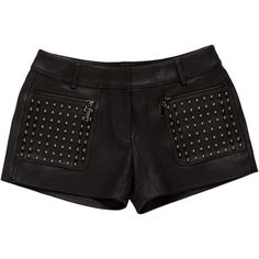 Pre-owned Thomas Wylde Studded Leather Shorts ($195) ❤ liked on Polyvore featuring shorts, black, studded leather shorts, hot short shorts, mini shorts, leather hotpants and short shorts