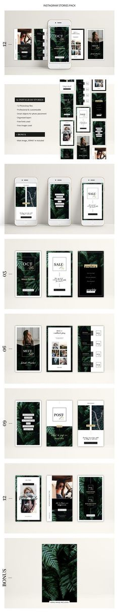 FERNS Instagram Stories Pack by AgataCreate on @creativemarket Social media creative design posts for promotion marketing design templates. Use it for quotes, tips, photos, etiquette, ideas, posts or for presentation your business agency, products sales or designs. Ready to use on Instagram, Pinterest, Facebook, Twitter your Blog or Website. #socialmedia #socialmediamarketing #instagram #design #stories #post #pinterest #feminine #story Web Design, Creative Design, Logo Design, Graphic Design, Design Ideas, Social Media Template, Social Media Design, New Instagram, Instagram Design