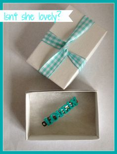 Turquoise LOVELY barrette on Etsy, $3.00