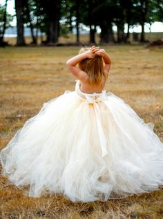 Ivory Champagne Flower Girl Dress with Detachable Train.