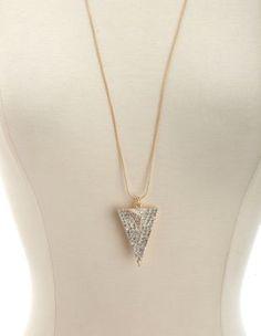 Rhinestone Triangle Pendant Necklace