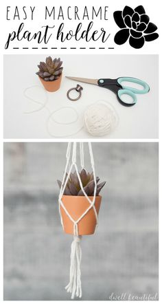 Easy Diy Garden Projects You'll Love Macrame Plant Holder, Plant Holders, Diy Crafts To Sell, Home Crafts, Organizer, Plant Hanger, Diy Beauty, Diy Tutorial, Easy Diy