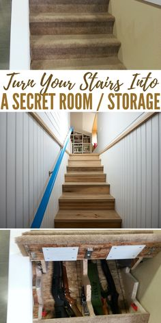 Turn Your Stairs Into A Secret Room / Storage Old Wooden Doors, Rustic Doors, Entry Way Design, Door Design, Home Living Room, Living Room Designs, Hidden Rooms, Secret Rooms, Stair Storage
