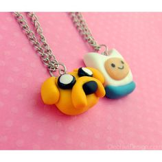 Adventure Time Jake and Finn Pendant Necklace Best Friends Polymer Clay