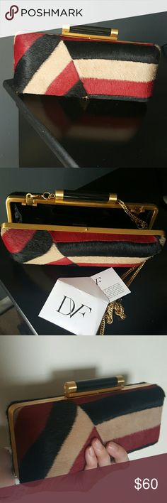 DVF Pony Hair Clutch with Chain Strap Option Authentic and like new Diane von Furstenberg clutch Diane von Furstenberg Bags Clutches & Wristlets