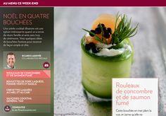 Noël en quatrebouchées - La Presse+ Sauce General Tao, Sauce Cocktail, Buffet, Keto, Glazed Pork, Cucumber Rolls, Catering Display, Lunch Buffet