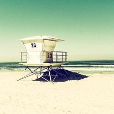 Lifeguard Tower - Tower 23 - Pacific Beach San Diego - Beach House Decor - Sea Green - Home & Office Wall Art -  fpoe
