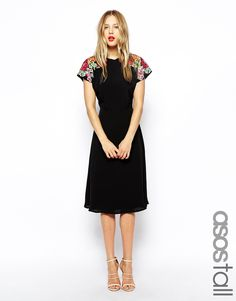 ASOS TALL Midi Skater Dress with Embroidered Shoulder Detail
