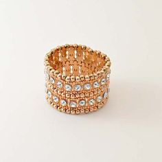 Artemis Rose Gold by TuVous - $15.00  Rose Gold metal beading and diamond sparkle give this bracelet a sophisticated pizzazz with elegant style.  Available at www.stylishvous.com