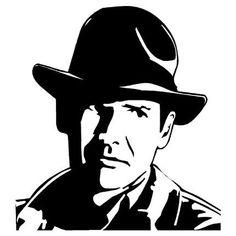 Harrison Ford as Indiana Jones Vinyl Wall Art Decal Sticker Stencil Templates, Stencil Patterns, Stencil Art, Stencil Designs, Wall Art Designs, Stenciling, Indiana Jones, Vinyl Wall Art, Vinyl Decals