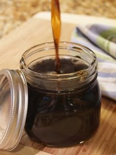 Pancake syrup 1cup: water, white sugar, bro sugar, 1T maple extract, 1t vanilla flavoring. Simmer on med-low heat until sugars are melted and thickened to desired consistency.