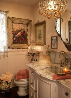 The bathroom shown here, has been decorated just beautifully with shabby and french decor that makes it feel warm, inviting, elegant and special!