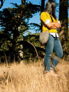 Yellow textured sweater   white button down shirt   skinny ankle jeans   ballet flats   crossbody purse   www.shoppingmycloset.com         @hm #hm @target #target @paigedenim #paigedenim @marcjacobs #marcjacobs @jcrew #jcrew