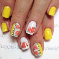 Yellow and rose nails (from @Thy Vo on Instagram).