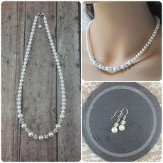 Wedding Jewelry Set   Pearl Necklace and Earring Set Handcrafted by Amanda Badgley Designs   A Bridal Boutique {Bride + Bridesmaids}