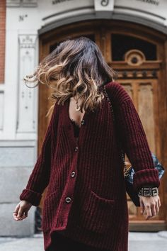 #SaraEscudero in #ANINEBING Loose fit knitted cardigan