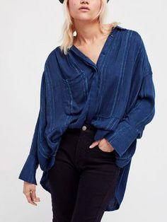 e5158f16434 Free People Cozy Nights Striped Oversized Shirt - Blue S