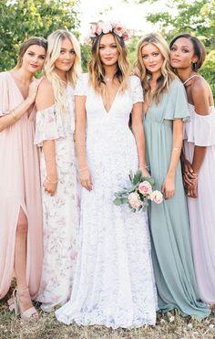 Casual Bridesmaid Dresses, Beach Wedding Bridesmaids, Bridesmaid Dress Colors, Maxi Dress Wedding, Gorgeous Wedding Dress, Maxi Dresses, Bohemian Bridesmaid, Beach Wedding Sundress, Different Bridesmaid Dresses