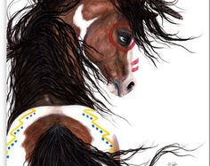 051285e0f Majestic Pinto Turquoise War Paint Native American Spirit Horse ArT- Giclee  Print by Bihrle mm154