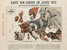 "This satirical map from 1870 shows a Europe in crisis, bristling with tensions which would, come July that year, erupt into the Franco-Prussian war.Pictured as an old woman, Britain is ""isolated and fuming with rage"", turning away decidedly from events on the mainland, almost forgetting, as the caption tells us, about Ireland, the rather cute dog she keeps on a leash. The degrees of longitude are marked out in rifle lengths, a nice touch alluding to the explosiveness of the situation."