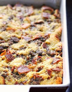 This easy Sausage Cheese Breakfast Casserole recipe is prepped ahead to make your morning prep a breeze. This is the perfect dish for breakfast or brunch!