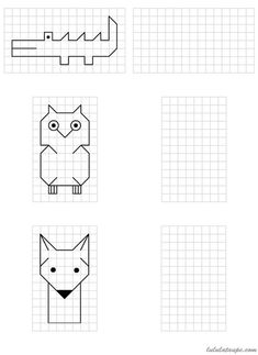Simple drawings to reproduce on grid School MATHEMATIC HISTORY Mathematics is one of the oldest sciences … Graph Paper Drawings, Graph Paper Art, Easy Drawings, Therapy Activities, Activities For Kids, Math For Kids, Mathematics, Kids Learning, Pixel Art