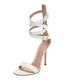 GIANVITO ROSSI Leather Ankle-Wrap D'Orsay Sandal, White. #gianvitorossi #shoes #sandals