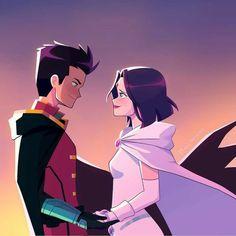 Teen Titans Love, Teen Titans Fanart, Damian Wayne Batman, Batman Robin, Raven Fanart, Next Avengers, Avatar Poster, Robin And Raven, Dc Couples