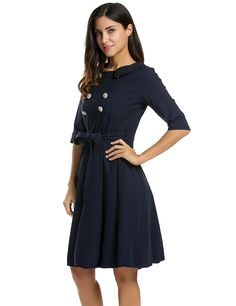 ANGVNS Women's Vintage 1950s 3/4 Sleeve Black Fit and Flare Dress With Belt