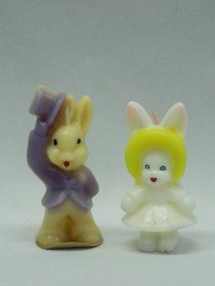Vintage 1950's Gurley Unlit Candle Easter Bunny Girl w/ Bonnet Boy w/ Purple Hat