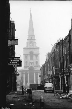 Christ Church in Spitalfields is still instantly recognisable in this picture taken in 1962 by David Bailey