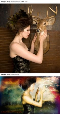 A before and after shot of Imogen Heap, by Jeremy Cowart.