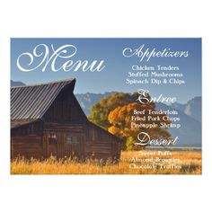 Mountan Wedding Rehearsal Dinner Old Country Barn Rustic Nature Wedding Menu Card