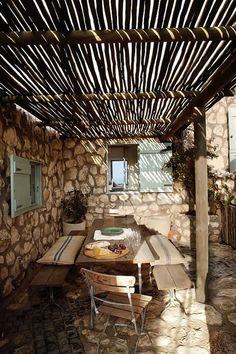 Great outdoor sitting area. Love the twig covering and all the stone.