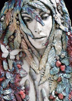 "Raku, "" Primrose"", Deep Wood Nymph Series, Wall hanging or Wall Pocket, by Leslie Ahrens"