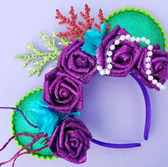 Mermaid Floral Glitter Minnie Mouse Disney Ears