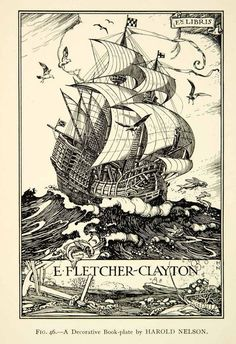 1927 Print Nautical Book Plate by Harold Nelson