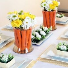 Decorating an Easter table: Ideas for carrot centerpieces and stamped egg place cards.