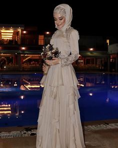Image may contain: 1 person, standing Hijab Prom Dress, Prom Dresses, Wedding Dresses, Muslim Fashion, Hijab Fashion, Fashion Dresses, Night Outfits, Dress Outfits, Simple Hijab