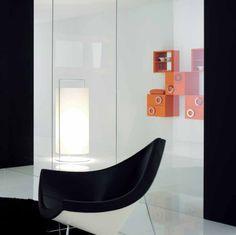 Coconut chair + modern shelving