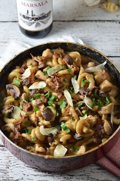 One Pot Creamy Chicken Marsala Pasta.  You cook the noodles, sauce, and chicken all together to make an extra-flavorful dish.  Not to mention, clean up is a breeze when there's only one pot to be washed!!  You're going to love this easy and impressive recipe. | hostthetoast.com