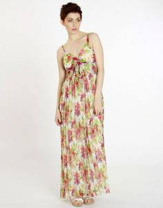 Pleated Maxi Dress | ... are here: Home > Red Floral Print Strappy Chiffon Pleated Maxi Dress