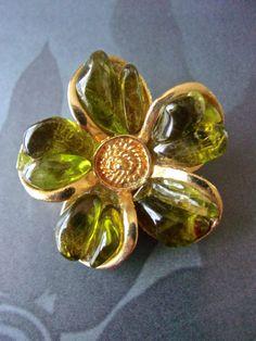 Gripoix Green Flower Brooch-Pin Poured Glass by RenaissanceFair