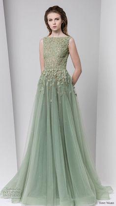 tony ward fall winter 2016 2017 rtw sleeveless bateau neckline ball gown a line evening dress powder green wedding inspiration