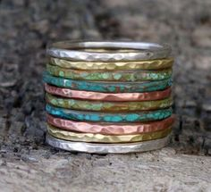Mixed metal stacking rings set of 10 in sterling silver, brass and copper rings. Multi color rings.