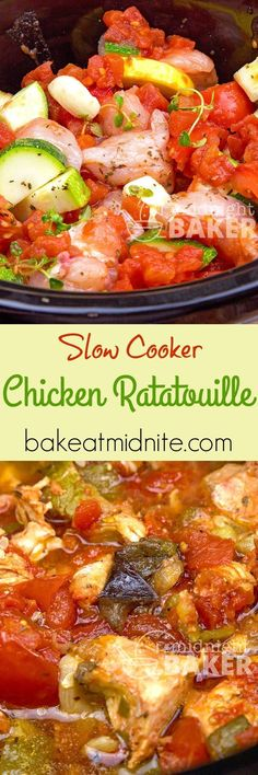 Slow Cooker Chicken Ratatouille Just add chicken and fresh garden veggies to your slow cooker and voila–a chicken version of ratatoulle. Healthy and delicious. Crock Pot Slow Cooker, Crock Pot Cooking, Slow Cooker Chicken, Slow Cooker Recipes, Crockpot Recipes, Chicken Recipes, Cooking Recipes, Healthy Recipes, Easy Recipes