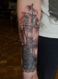 Tattoo old sailing ship   #Tattoo, #Tattooed, #Tattoos
