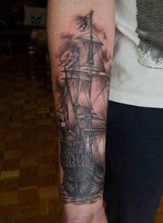 Tattoo old sailing ship   #Tattoo, #Tattooed, #Tattoos