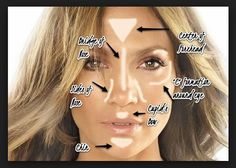 Contour tips on Jennifer Lopez! Her skin is ALWAYS flawless and beautiful! This pictorial shows where you highlight and contour to get that perfect glow